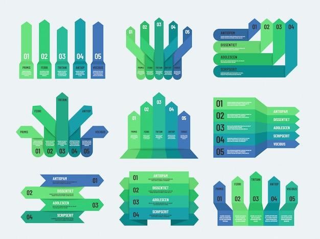 Infográfico de opção. opções, etapas ou gráficos, tabelas e diagramas de processo para o relatório anual de negócios.