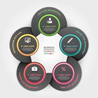 Infográfico de opções de estilo de origami de círculo de negócios moderno.