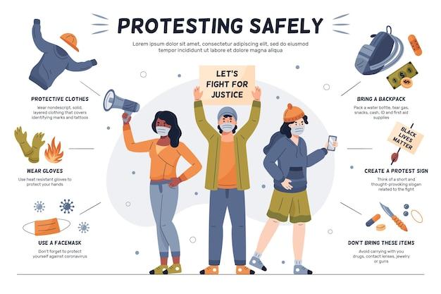 Infográfico de pessoas protestando com segurança