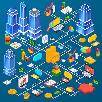 Infográfico de planejamento de infra-estrutura de cidade de escritório