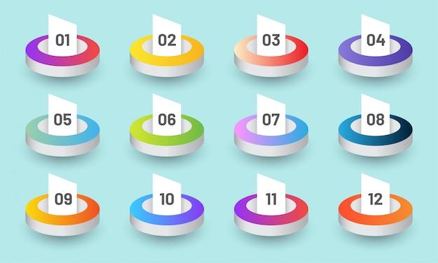 Infográfico de pontos de bala de círculo na moda