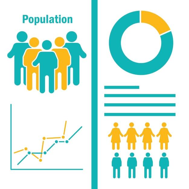 Infográfico de população de mulheres e homens