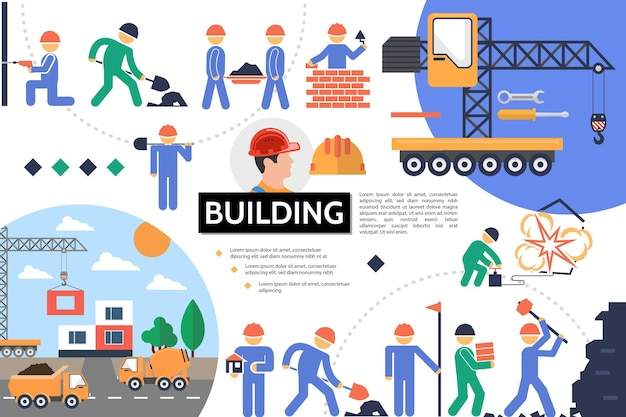 Infográfico de prédio plano com ilustração de veículos e obras industriais de construtores