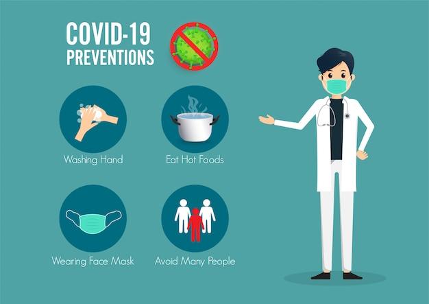 Infográfico de prevenção de coronavírus covid-19. médico em pé ponto dedo para infográficos de métodos de prevenções.