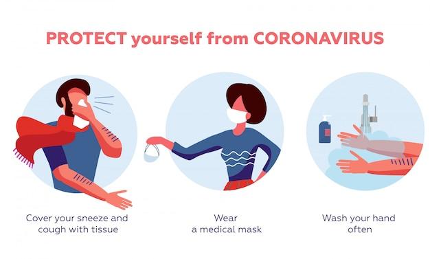 Infográfico de prevenção de doença de coronavírus com ilustração e texto