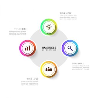 Infográfico de processo de negócios ciclo com várias opções