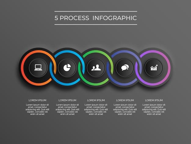 Infográfico de processo moderno escuro de 5 anéis vetor premium