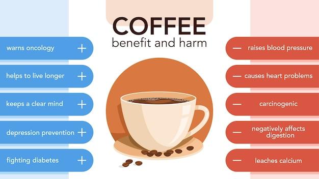 Infográfico de prós e contras de bebidas de café. efeito e conseqüência do consumo do café. ilustração