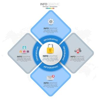 Infográfico de proteção contra ataques cibernéticos com 4 opções ou etapas.