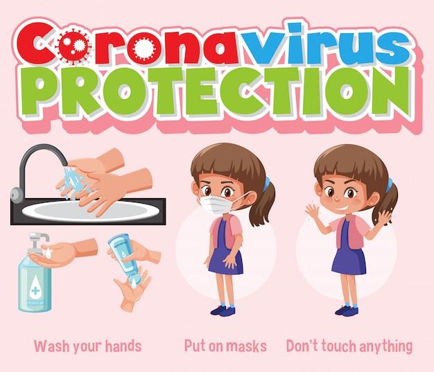Infográfico de proteção contra vírus corona