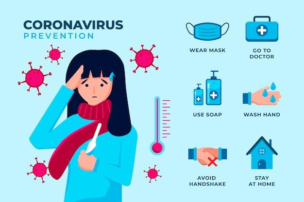 Infográfico de proteção de coronavírus e pessoa doente