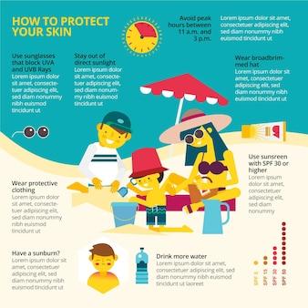 Infográfico de proteção solar de design plano