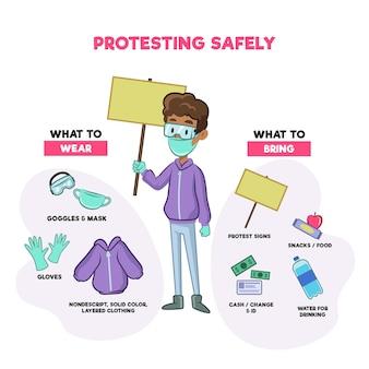Infográfico de protesto com segurança