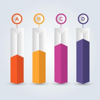 Infográfico de quatro passos, ícones coloridos.