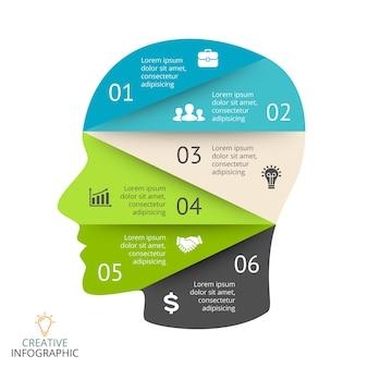 Infográfico de quebra-cabeça de cabeça humana gerando novas ideias modelo educacional de vetor pensamento criativo