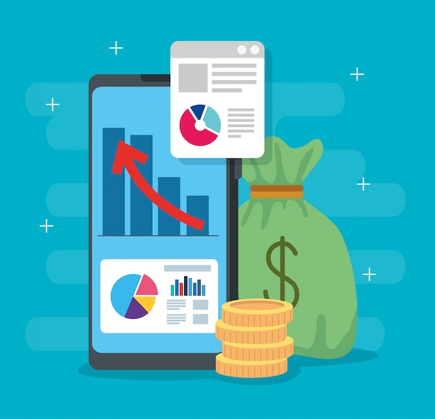 Infográfico de recuperação financeira em smartphone e ícones