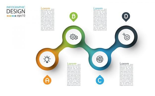 Infográfico de rótulo de círculo com quatro etapas