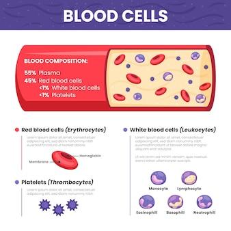 Infográfico de sangue de design plano