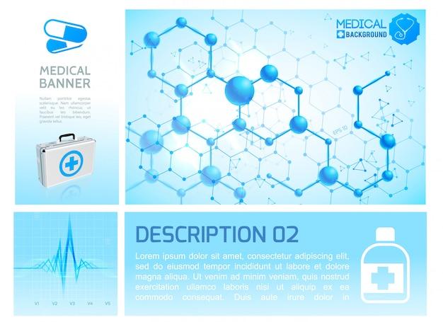 Infográfico de saúde infográfico azul com ritmo cardíaco caixa médica realista e estrutura molecular