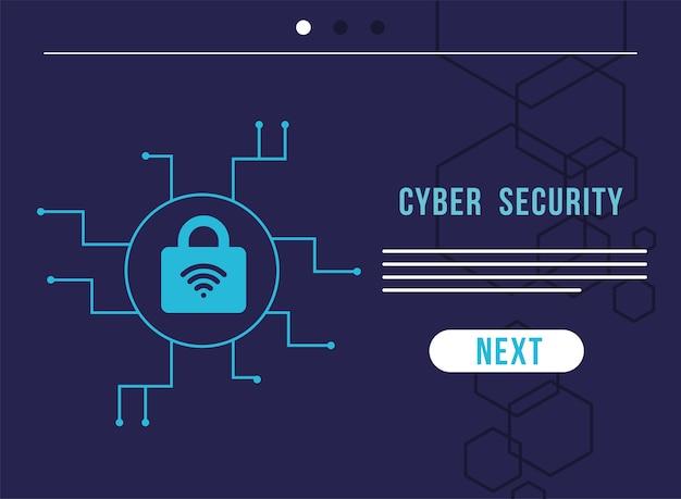 Infográfico de segurança cibernética com design de ilustração de sinal de cadeado e wi-fi