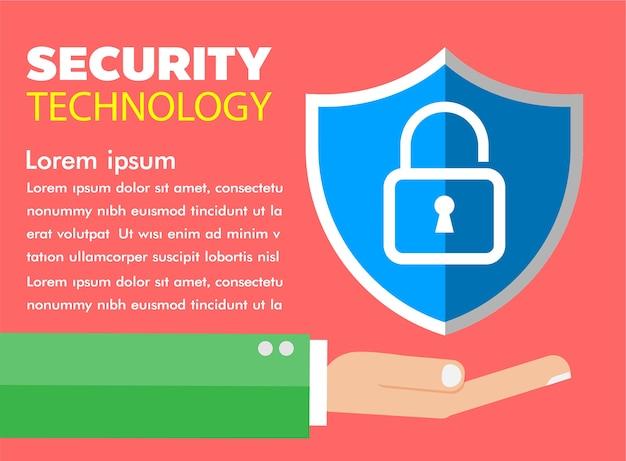 Infográfico de segurança cibernética na mão