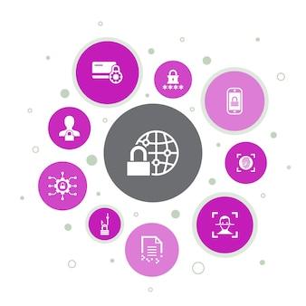 Infográfico de segurança da internet design de pixel de 10 etapas. segurança cibernética, leitor de impressão digital, criptografia de dados, ícones simples de senha