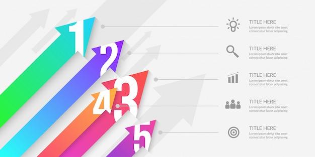 Infográfico de seta com segmentos editáveis, elementos de fluxo de trabalho gráfico colorido