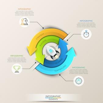 Infográfico de setas círculo de vetor para o conceito de inicialização