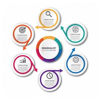 Infográfico de setas círculo moderno