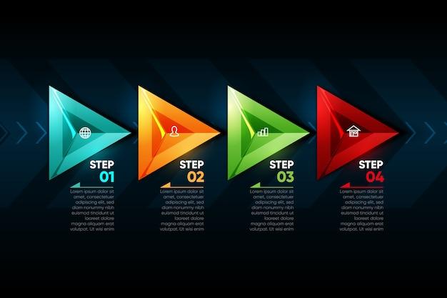 Infográfico de setas coloridas realistas