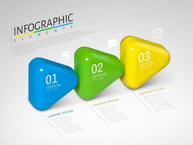 Infográfico de setas, setas brilhantes de textura plástica com cores diferentes na ilustração, conceito de processo