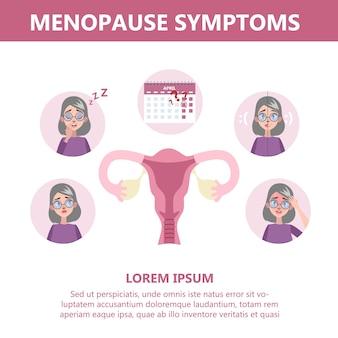 Infográfico de sintomas da menopausa. hormônio e sistema reprodutivo