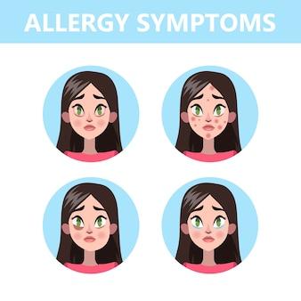 Infográfico de sintomas de alergia. nariz escorrendo e vermelhidão nos olhos