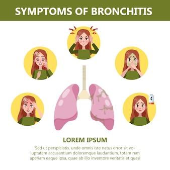 Infográfico de sintomas de bronquite. doença crônica. tosse cansaço