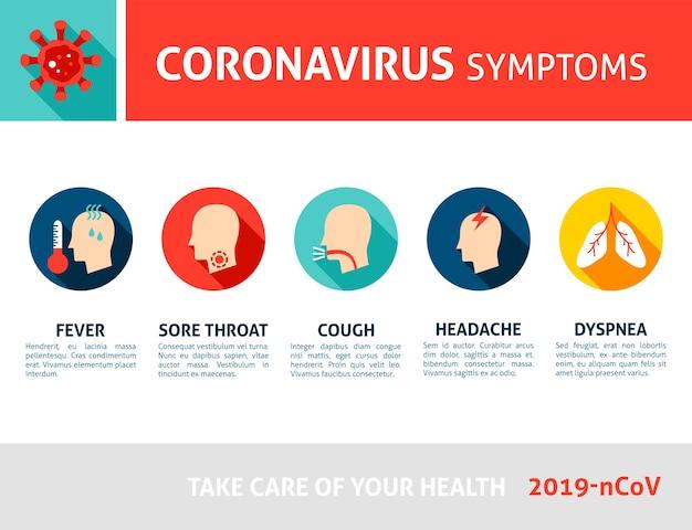 Infográfico de sintomas de coronavírus 2019 ncov ilustração vetorial plana de conceito médico com texto
