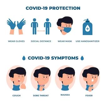 Infográfico de sintomas de coronavírus com menino avatar