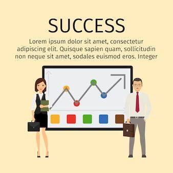 Infográfico de sucesso com pessoas de negócios