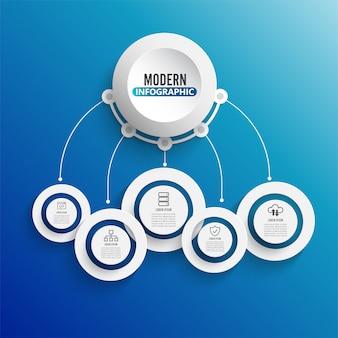 Infográfico de tecnologia com etiqueta de papel 3d. negócios com 5 opções.
