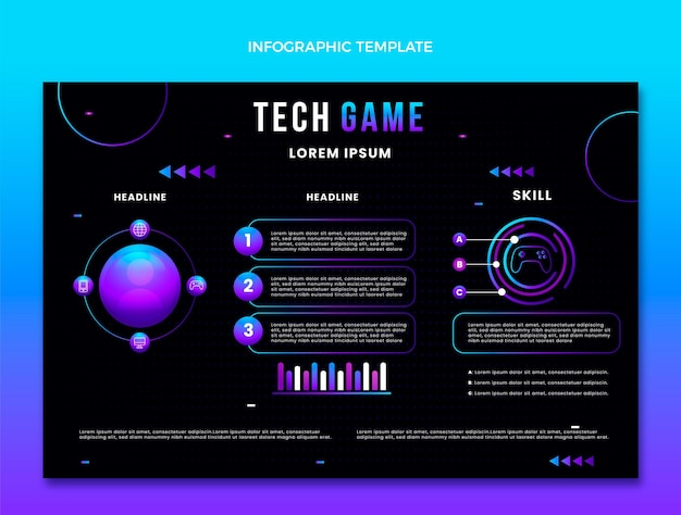 Infográfico de tecnologia de gradiente abstrato