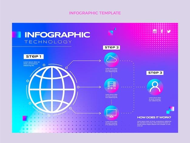 Infográfico de tecnologia de meio-tom gradiente