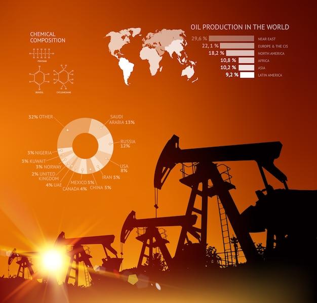 Infográfico de torre de petróleo com linha de seta.