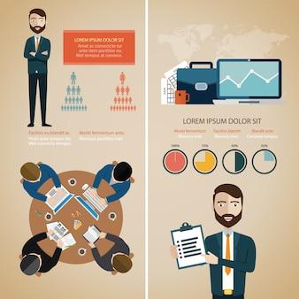 Infográfico de trabalho em equipe com avatares de negócios e mapa do mundo