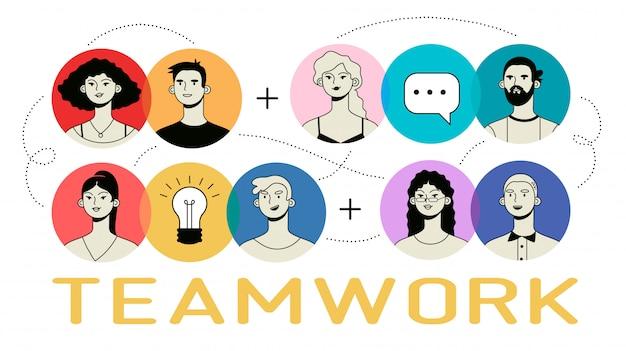 Infográfico de trabalho em equipe com ícones coloridos de pessoas.