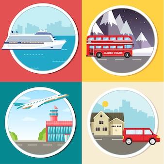 Infográfico de transporte de variações de viagens, férias, turismo