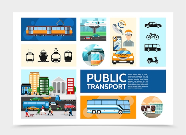 Infográfico de transporte público plano com operador de bonde táxi trânsito rodoviário ônibus metrô cruzeiro navio scooter bicicleta ilustração