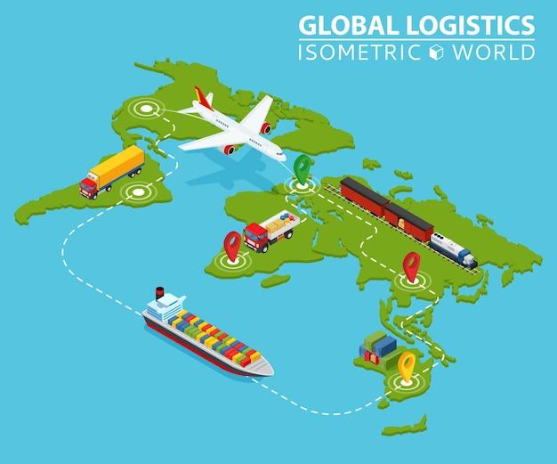 Infográfico de veículo isométrico de logística global. serviço de logística de caminhões de carga de navios.