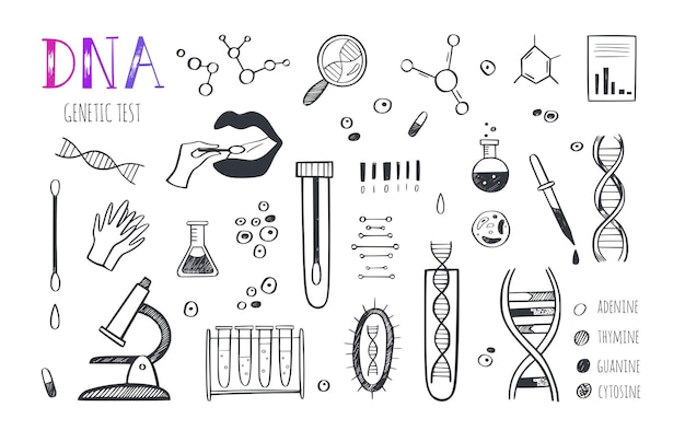 Infográfico de vetor de engenharia genética e pesquisa médica.