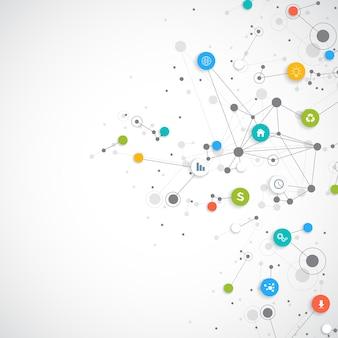 Infográfico de vetor de negócios abstratos. computação em nuvem e design de conceito de conexões de rede global. modelo de negócios científicos com ícones para folheto, diagrama, fluxo de trabalho, linha do tempo, design web.