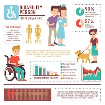 Infográfico de vetor de pessoa com deficiência e aposentadoria