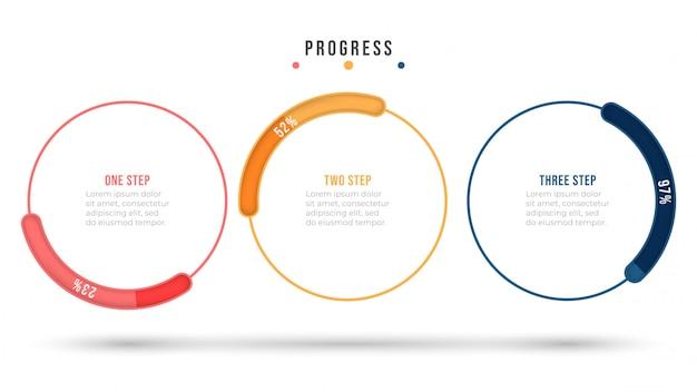 Infográfico de vetor. elementos de design plano de linha fina com barra de progresso do círculo. conceito de negócio com 3 opções ou etapas.